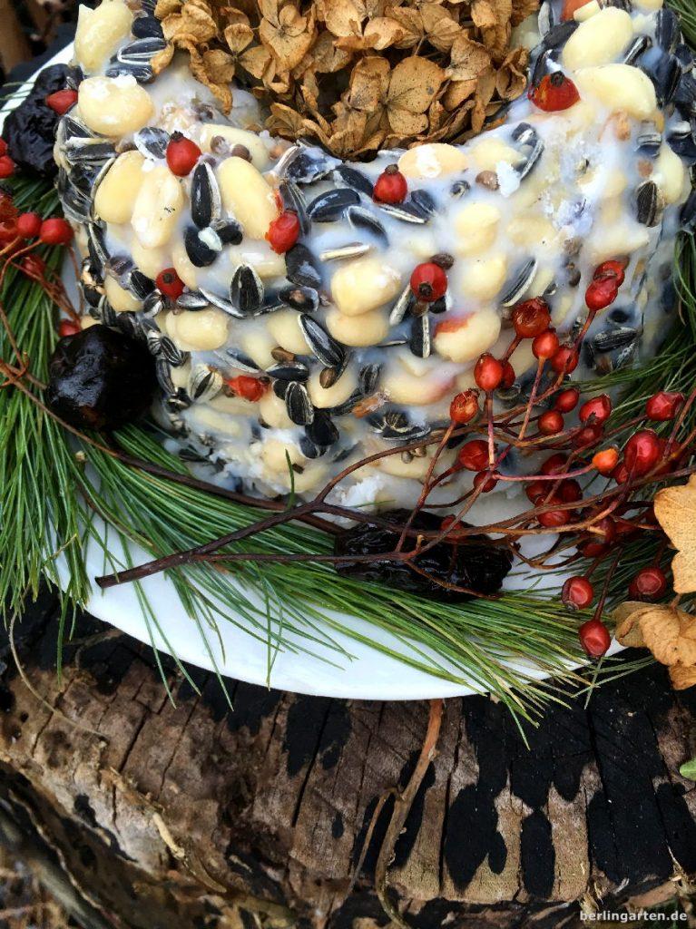 Der selbstgemachte Vogelkuchen wird noch hübscher durch Trockenobst und Hagebutten.