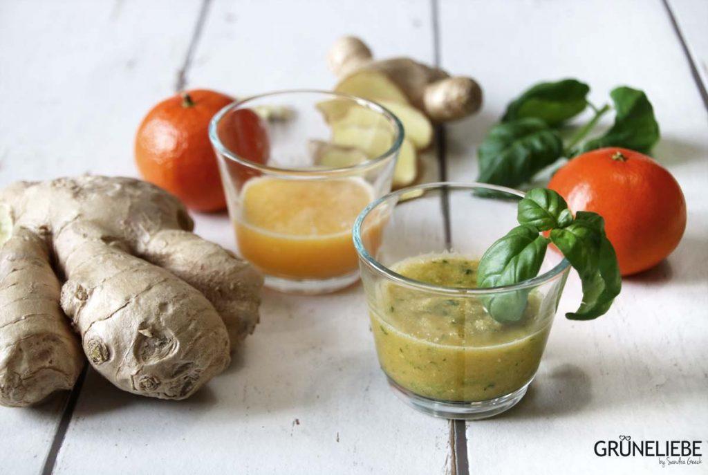 Stärkt die Abwehrkräfte: Ingwer-Shot mit Mandarine und Orange-Basilikum