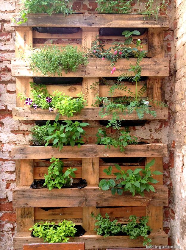 vertikales g rtnern bepflanzte paletten berlingarten. Black Bedroom Furniture Sets. Home Design Ideas