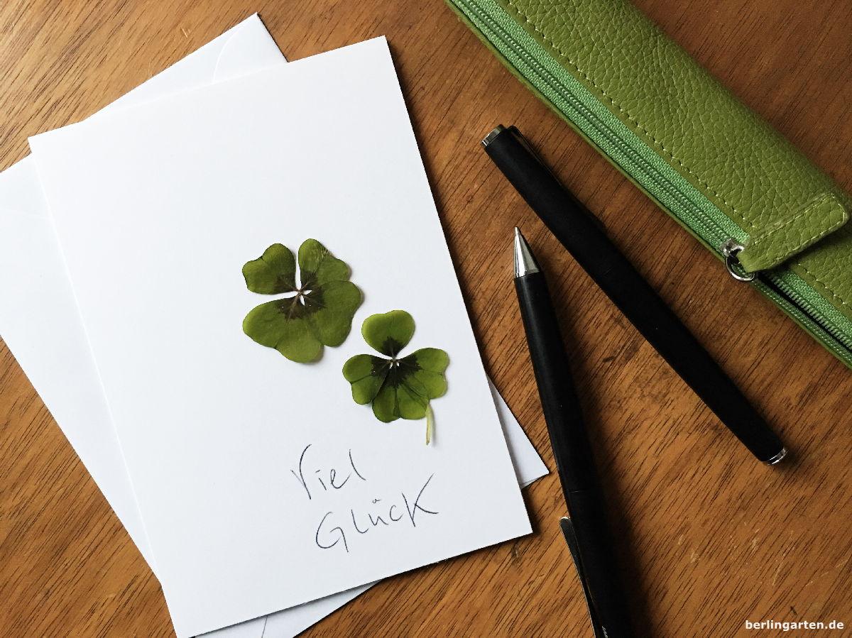 Grußkarten mit Glücksklee