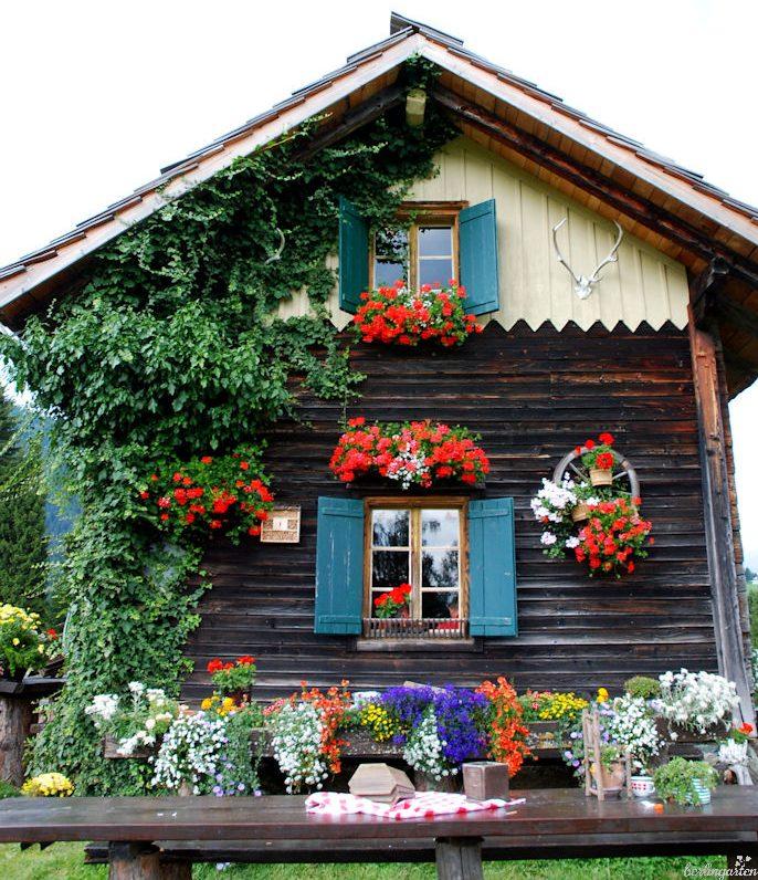 """Mit fröhlichen """"Geranien"""" - geschmücktes Haus auf der Steineckenalm in Kärnten"""